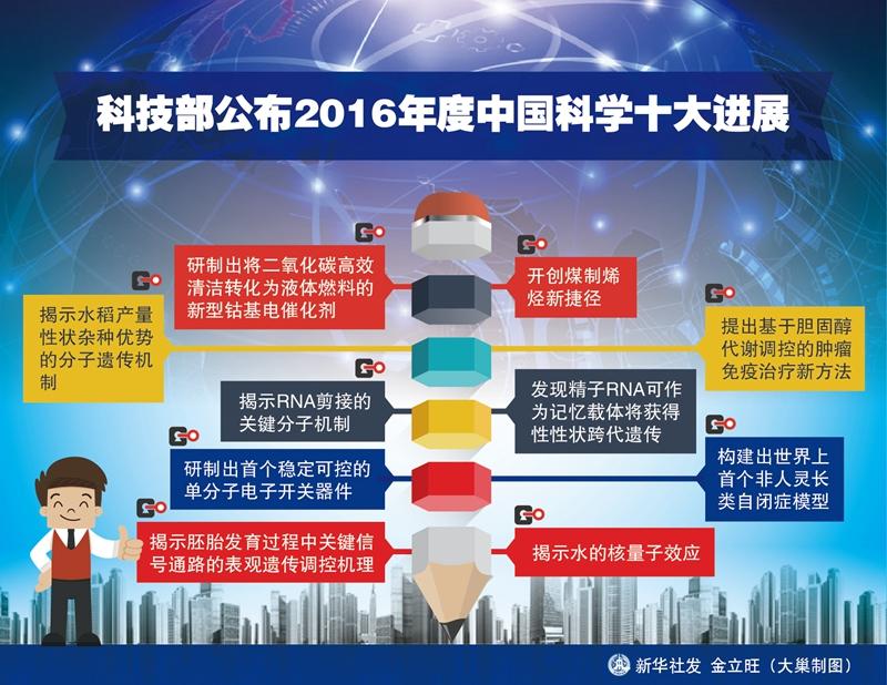 """科技部发布2016年度中国科学十大进展:生命科学占五项""""/"""
